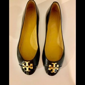 TORY BURCH Claire Black Flats size 8 1/2